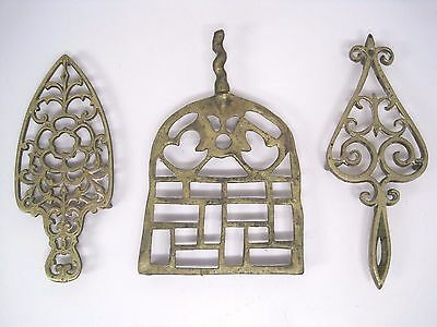 Set of 3 Vintage Solid Brass Footed Trivets Hot Plates Wall Plaques Scrollwork