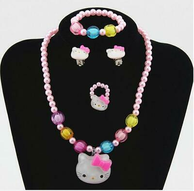 Lovely Baby Girls Imitation Pearls Hello Kitty cat Pendant Necklace Jewelry sets