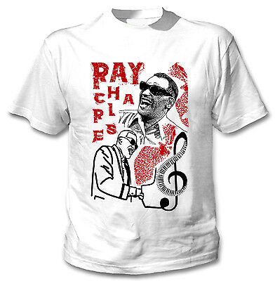 Ray Charles Jazz - New Cotton White Tshirt