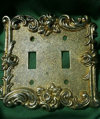 1967 Vintage At & Hc American Tack Hardware Co Ornate Duplex Switch Plate Gold