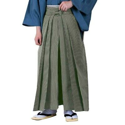 Traditional Japanese Mens Kimono HAKAMA Striped Olive Green L FastShip Japan EMS