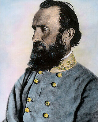 "GENERAL STONEWALL JACKSON CIVIL WAR APRIL 1963 8x10"" HAND COLOR TINTED PHOTO"