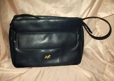 Vintage Bueno Navy Blue Faux Leather Shoulder Bag 1970's