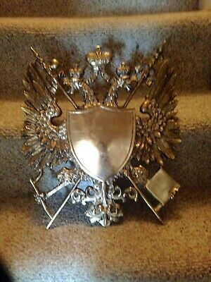 Vintage Cast Metal Medieval Gothic Eagles Coat Of Arms Shield Wall Plaque-HEAVY