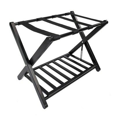 2 Tier Steel Portable Travel Folding Luggage Suitcase Rack Stand for Home Hotel