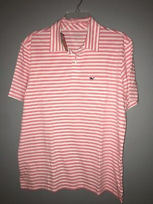 76216bcc17 NWT VINEYARD VINES Mens Jersey Polo Golf Shirt Pink White Stripe Cotton  MEDIUM