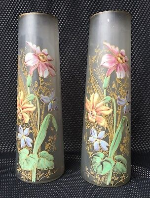 Pair of Vases Art Nouveau Decor Enamelled Flowers - Legras