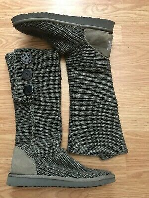 7aa77daf09a UGG AUSTRALIA WOMEN'S Classic Cardy Boots Size 8 Gray Knit Shoes 5819