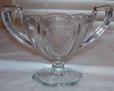 Vintage Clear Glass Two Handled Etched Or Cut Flower Footed Sugar Bowl
