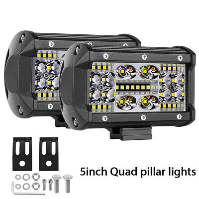 "5""in Combo LED Work Light Bar Driving Quad Row Fog Truck ATV Trailer Offroad Car"