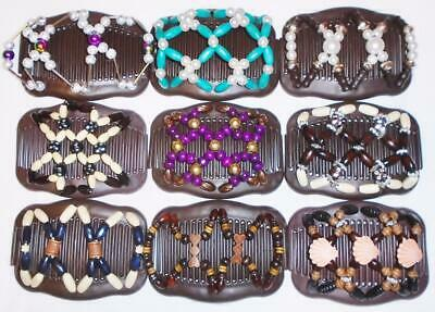 """Angel Wings Hair Clips 4x3.5"""", African Butterfly Style, Magic Combs, BROWN S104"""