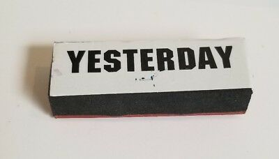 Vintage small plastic foam rubber stamp Yesterday Arts And Crafts Scrapbooking
