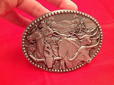 "Vintage Men's Belt Buckle Longhorn Steer ""S"" Western Pewter Cowboy Zee Series"