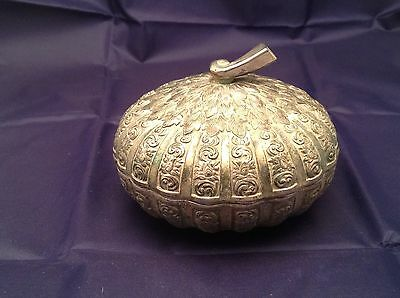 Antique Metal Candy Bowl Dish With Lid Design Of Floral and Foliage Curly Q Top