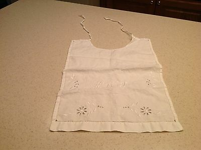 "Vintage  handmade baby child bib embroidered monogram ""KWJ"" Floral White"