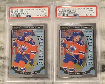 Two 2015-16 O-Pee-Chee Platinum Connor McDavid #M1 Marquee Rookies RC MINT PSA 9