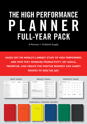 High Performance Planner Full-Year Pack 6 Planners = 12-Month Supply