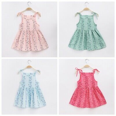 Summer Casual Baby Kids Girls Floral Print Dress Toddler Sleeveless Sundress New