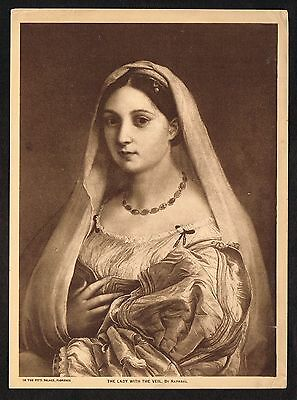 1910s Antique Vintage Lady With Veil Raphael Art Gravure Print