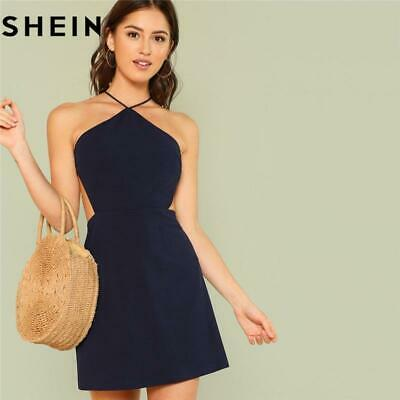 24e27d2fc6 SHEIN Women Navy Sleeveless Backless Sexy Club Mini Dress Summer Party  Strappy