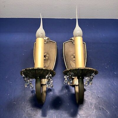 Pair of petite antique Art Deco brass sconces Newly Wired 22B