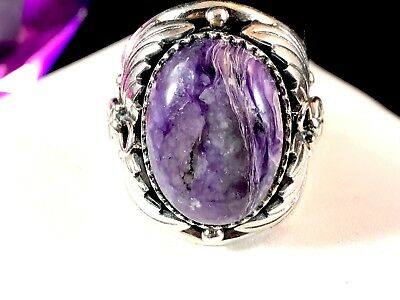 Striking Signed Nk 925 Sterling Silver Oval Kunzite Stone Decorated Ring Size 6