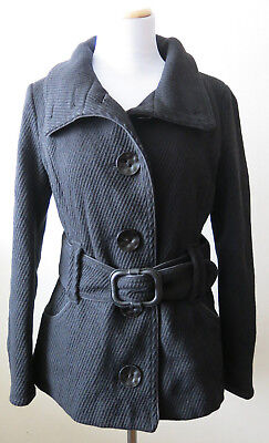a995ffc6cd2a SOIA & KYO Women's Size Large Black Belted Coat Jacket Wool Blend Lined ...