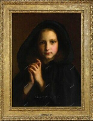 "Old Master Art Antique Portrait Girl with a Mantle Oil Painting Unframed 30""x40"""