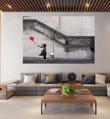 A0 A1 A2 A3  poster print for glass frame art Banksy Hope Red Balloon girl