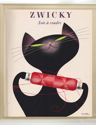 A0   poster print for glass frame vintage Zwicky cat painting art wall decor