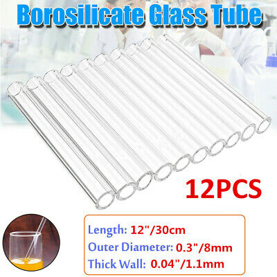 "12pcs Borosilicate Glass Tubing 8mm OD Blowing Pyrex Tubes Clear 12"" Long"