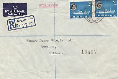 Singapore: 1955: Registered air mail to Utrecht Holland