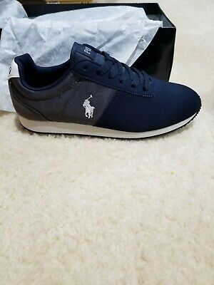 688aeaac1 Junior Polo Ralph Lauren Brightwood- Navy Charcoal Sneakers Shoes Size 5M