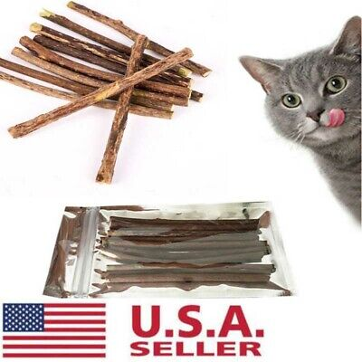 20Pcs Cat Cleaning Teeth Natural Catnip Pet Molar Toothpaste Silvervine Stick US