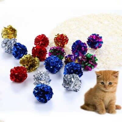 12Pcs Cat Pet Balls Toy Crinkle Sound Shiny Ring Pet Kitten Play Paper Balls New