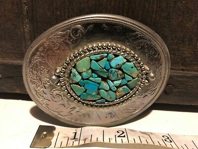 VINTAGE TURQUOISE BELT BUCKLE Native American Arrowhead Design Western