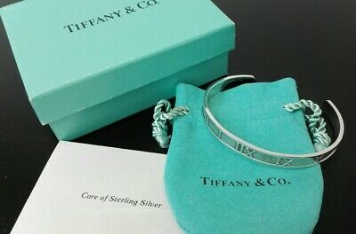 TIFFANY&Co Atlas Roman Numerals Cuff Bangle Bracelet Small size Silver 925