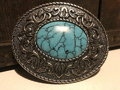 VINTAGE TURQUOISE BELT BUCKLE Native American Arrowhead Design Western Floral