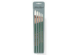 Silver Brush Grand Prix Extra Long Filbert Set of 5 with Free Brush