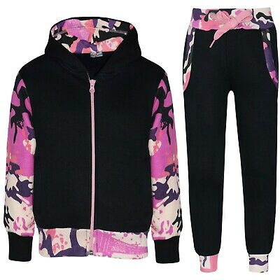 4b5fbe68518bb Kids Girls Camo Baby Pink Tracksuit Fleece Hooded Jogging Suit Bottom  Jogger2-13
