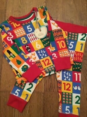 Little Bird By Jools Oliver Age 9-12 Months Christmas Print Pyjamas. Bnwt