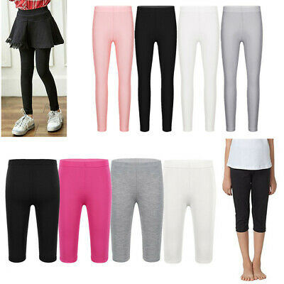 Kid Girl Leggings Cropped Pants Plain Shorts Solid Color Long Trousers 4-10Years