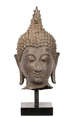Antique 18th Century Sukhothai Bronze Buddha Head - 31cm/12""