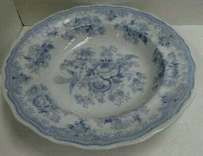 Antique Asiatic Pheasants Blue And White Willow Ironstone Plate Bowl Jmvs  Flow