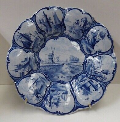 Antique Dutch Delft Makkum Hand Painted Blue White Charger Wall Plate Windmills