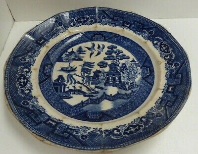 Antique Aluminia Blue And White Willow Ironstone Pottery Plate  Flow