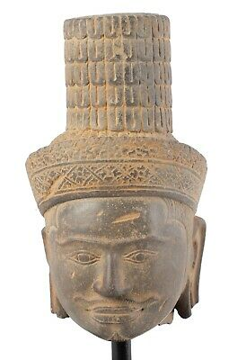 Antique Koh Ker Style Stone Mounted Khmer Vishnu Head - 28cm / 11""