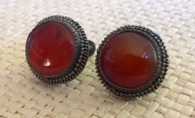 Antique ART DECO sign CHINESE silver screw back earrings RED carnelian stone UK