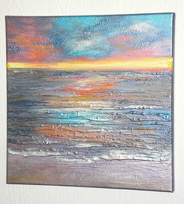 Abstract Acrylic Original Painting Textured canvas Seascape picture Sea Sunset
