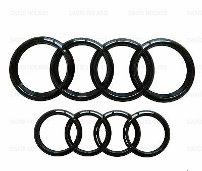 Audi Gloss Black Rear Front Rings Badge Emblem S Line A3 S3 Rs3 A4 A5 A6 273 193